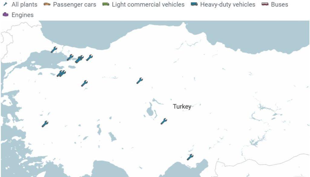 Türkiye'deki otomotiv fabrikaları haritası